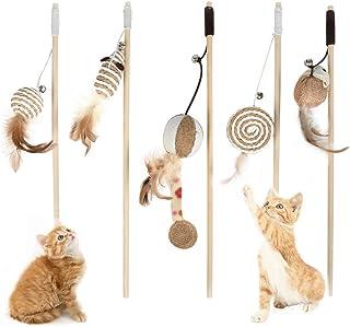 OFNMY 5pcs Giocattoli per Gatti con Piume Stili Diversi Giochi interattivi con Canna da Bacchetta
