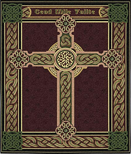 Celtic Irish Cross One Thousand Blessings | Woven Tapestry Wall Art Hanging | Celtic Tribal Knot Design | 100% Cotton USA Size 34x27