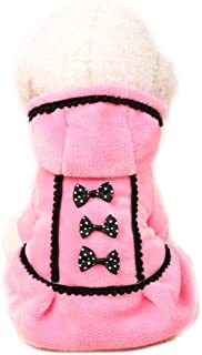 Boomboom Newest Lovely Winter Warm Bowknot Pet Puppy Dog Coat Clothes