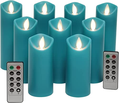 2021 Teal Flameless Candles, Battery Operated LED Pillar Truquoise Flameless Candles discount with Moving Flame Wick for Home Decor Seasonal discount & Festival Celebration by Kitch Aroma outlet sale