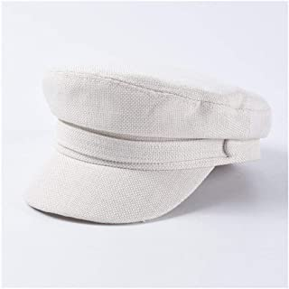 SHENTIANWEI Spring and Summer New hat Female Retro Casual Flat top Military Cap Cotton Linen hat Visor Cap (Color : White)