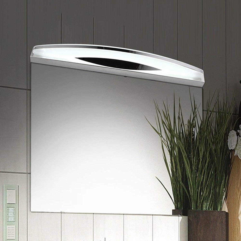 JQD Hauptbadezimmer-Spiegel-Scheinwerfer (40Cm-6W, 54Cm-9W) Edelstahl-Gebogene geführte vordere Lampe Modernes einfaches Acrylbadezimmer-Kabinett-Licht Wand-Lampe Make-Up-Glühlampe eingeschlossen
