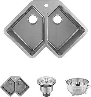 DAX Handmade Corner Double Bowl Undermount Kitchen Sink, 16 Gauge Stainless Steel, Brushed Finish, 32-3/4 x 22-3/4 x 10 Inches (DAX-347)