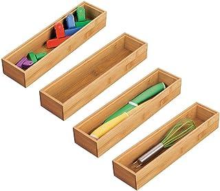 mDesign bac de rangement pour cuisine (lot de 4) – rangement tiroir rectangulaire en bambou – rangement cuisine empilable ...