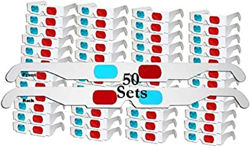 Jtshy 50 Pairs - FLAT- 3D Glasses Red and Cyan WHITE Frame Anaglyph Cardboard