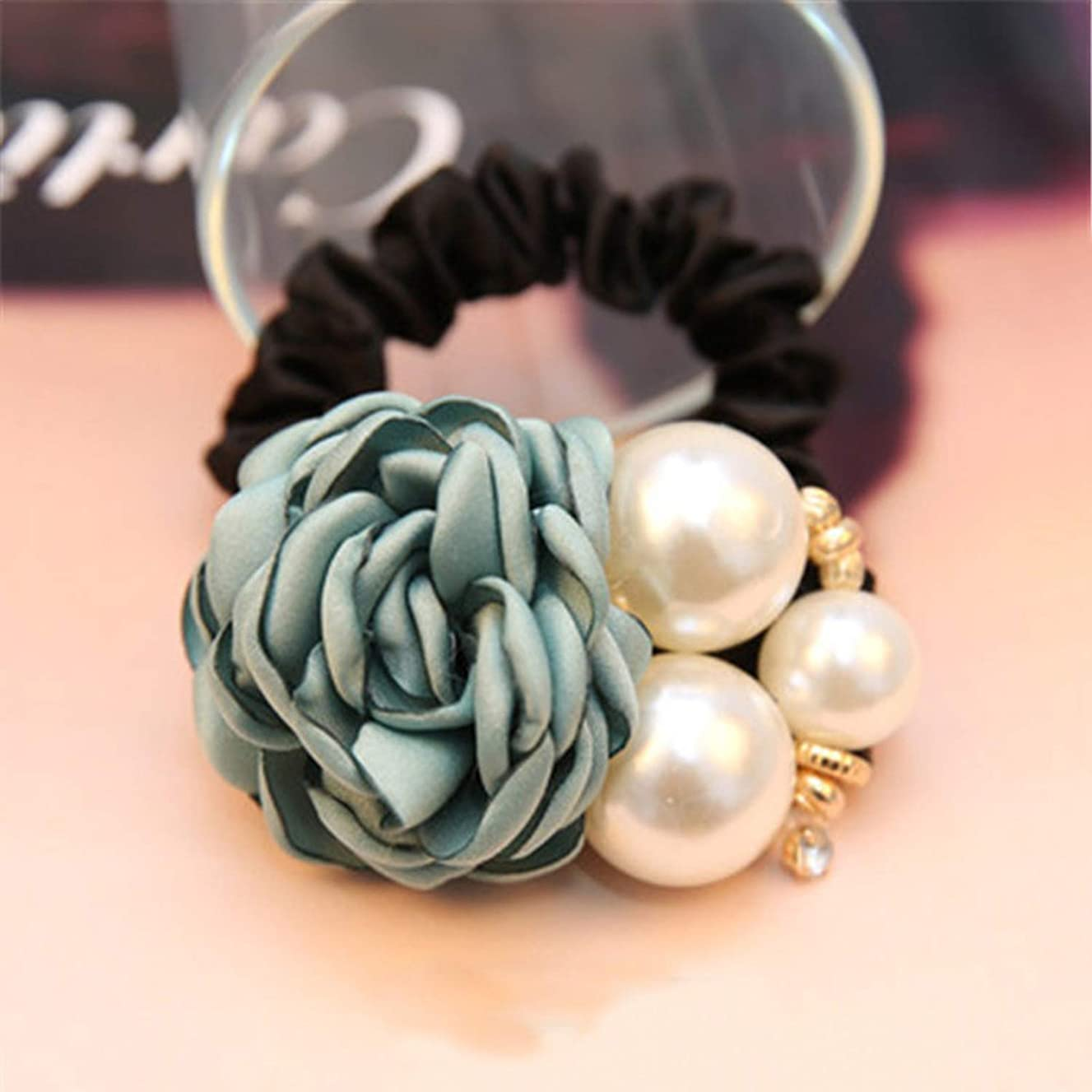 1pc Hair Accessories Women Fashion Style Big Rose Flower Pearl Rhinestone Hair Bands Elastic Hair Rope Ring for Girls