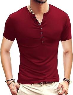 Mens Casual Slim Fit Basic Henley Short/Long Sleeve Fashion T-Shirt