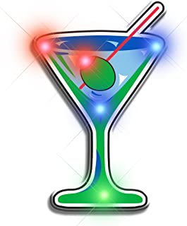 Light Up Martini Flashing Blinking LED Body Light Lapel Pins (5-Pack)