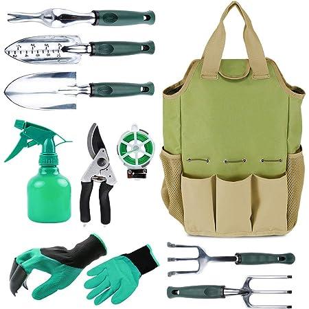 Inno Stage Organiseur pou outils de jardinage Sac fourre-tout avec 10outils de jardin, idée cadeau, avec gants de jardinage