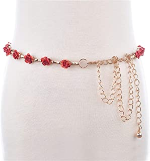 MYCHOMEUU Small Rose Metal Waist Chain Black Fashion Decorative Belt Female with Skirt Belt Thin (Color : Red, Size : 100-135CM)