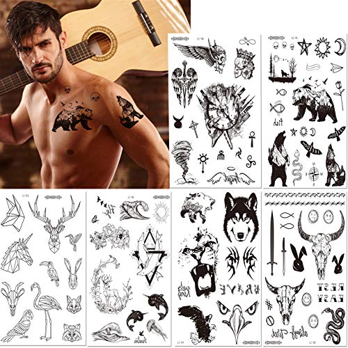6 Large Sheets Waterproof Temporary Tattoos, Tiger, Bear, Eagle, Tornado,Various Animals, Natural Landscape Black Fake Tattoo Stickers for Adults and Kids