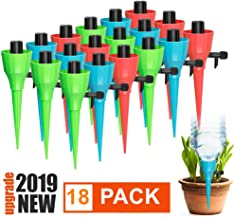 Oecalia Plant Self Watering Spikes Devices, 18 Pack Adjustable Plants Drip Irrigation Spike with Slow Release Control Valve Switch for Most Bottles Wine Bottle Plastic Bottle