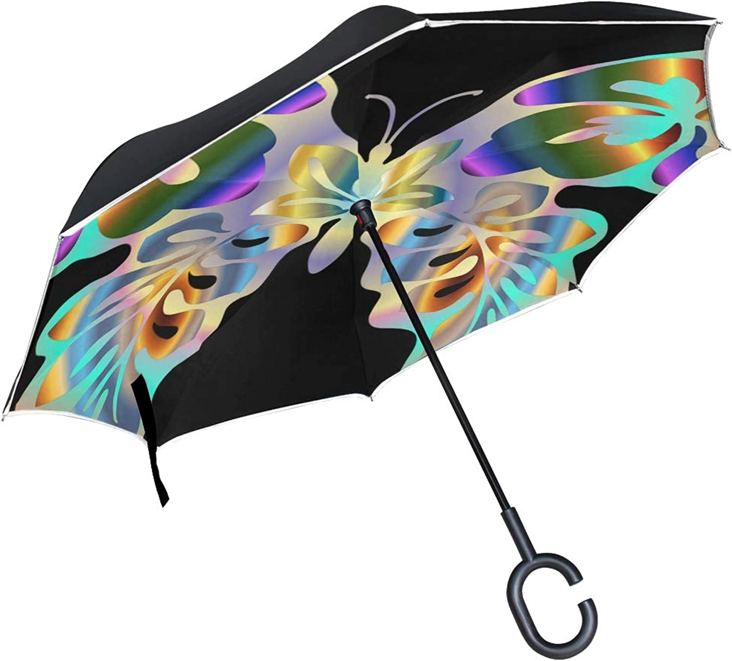 Double Layer Ingreened Abstract Animal Art Butterfly colorful Prismatic 1301879 Umbrellas Reverse Folding Umbrella Windproof Uv Predection Big Straight Umbrella For Car Rain Outdoor With Cshaped Handle