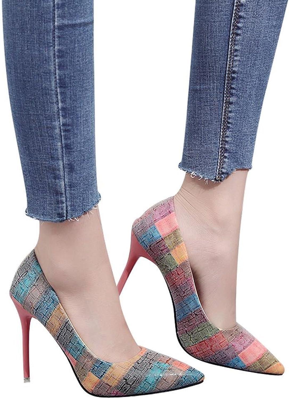 Fheaven Women's Gladiators shoes Wild Mixed colors Shallow High Heels shoes Pump Black