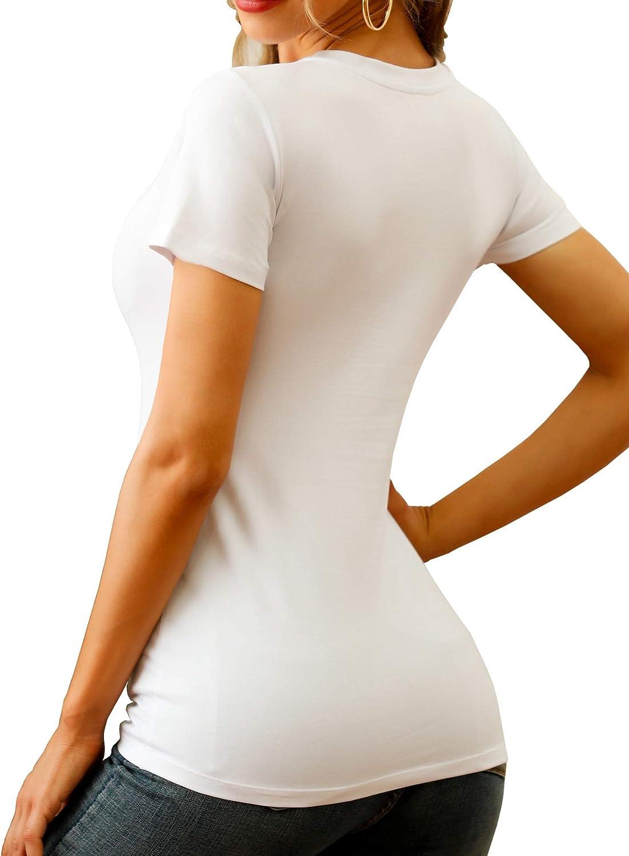 Womens Classic Crewneck//Scoopneck//V-Neck Short Sleeve Slim Fit T-Shirt Womens Short-Sleeve Stretch Cotton Slim-Fit T-Shirt