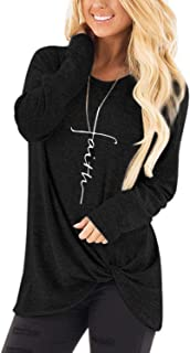 Women's Faith Printed Tees Tops Long Sleeve Twist Knot Side T Shirt Casual Fit Blouse Tops