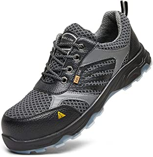 RRLOM Men's Steel Toe Work Safety Shoes, Breathable Proof Non-Slip Industrial Construction Shoes