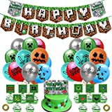 Accesorios de fiesta de videojuegos,diseño de minero jugador, decoración de fiesta, incluye pancartas de Happy Birthday globos y doradas para decoración de cumpleaños o gaming…