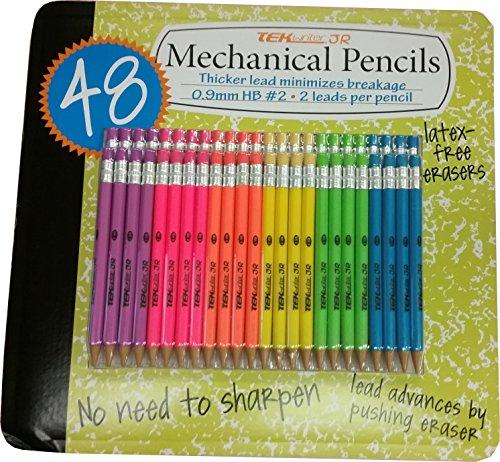 TekWriter Jr 48ct: #2 Mechanical Pencils 0.9mm Multicolored 48pk (Rainbow)