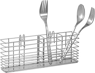 SANNO Stainless Steel Utensil Silverware Holder Organizer Drying Rack Basket Holder with Hooks 4 Divided Compartments Silv...