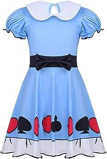 18d71fe64909f Alvivi Déguisement Enfant Fille Alice au Pays des Merveilles Robe de  Princesse Conte de Fée Livre
