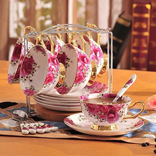 Haizh Koffiekopjes, Europese stijl, beenderen, China, koffiekop set, Engels, middagstee, retro, Engeland, roos met rek, koffiekopje, keramiek