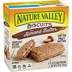 Nature Valley Breakfast Biscuits, Breakfast Sandwich, Almond Butter Filling, 5 Pack