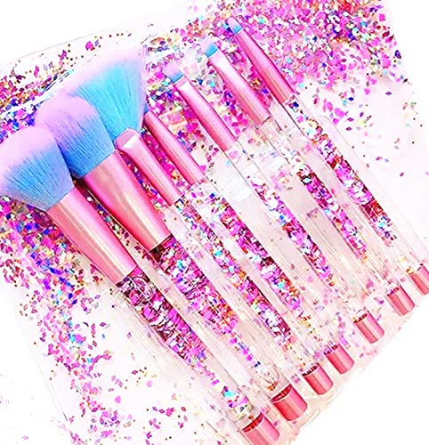 Unicorn Fan Makeup Brush Set,Crystal Sparkles Blush Powder Fan Lip Eye Shadow Eyebrow Eye Blender Brush in Set