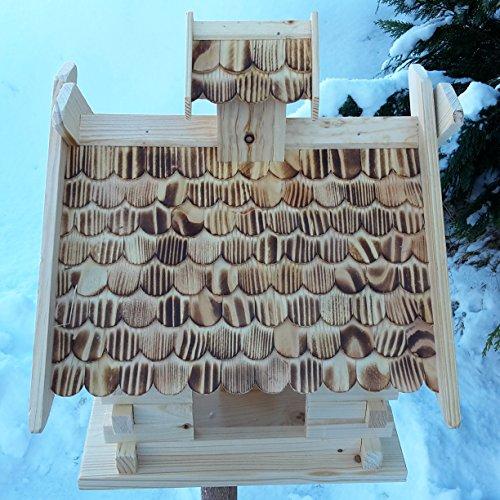 Großes XXL Vogelhaus Schreinerarbeit Futterhaus Vogelhäuschen — Wetterschutz lasiert — Blockhaus Holz Vogelhäuser (Natur) - 2