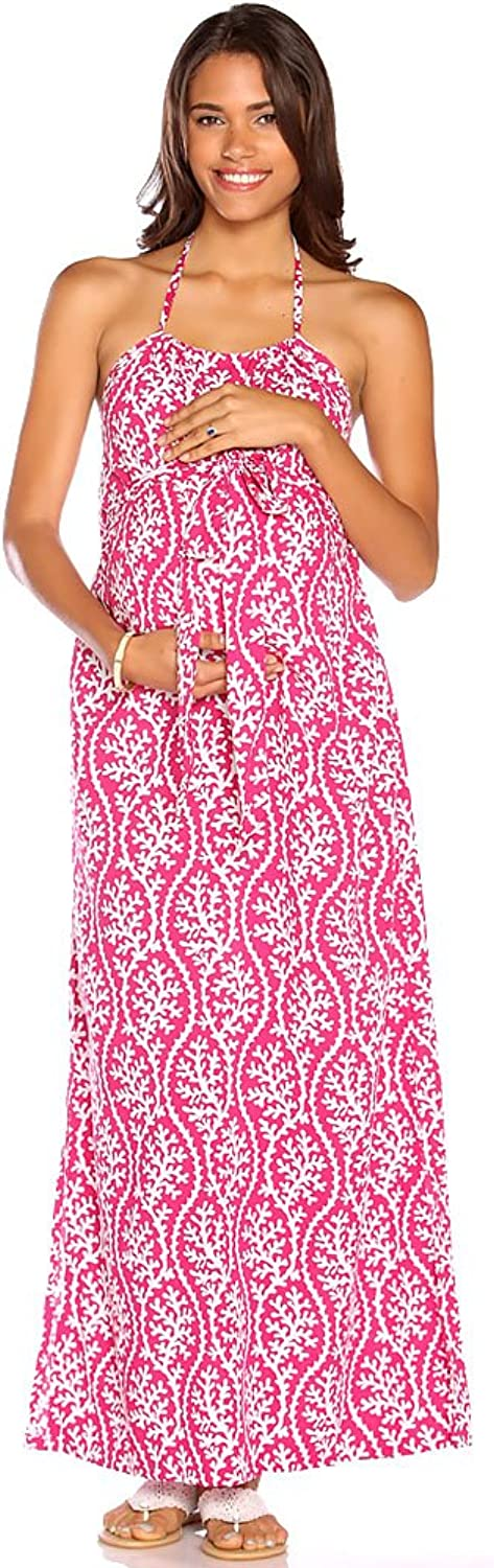 Due Maternity Lauren Pregnancy And Beyond Maxi Dress  Magenta White