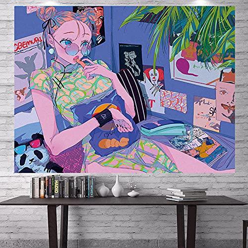 Tapiz De Habitación Rosa Sofá De Pared Manta Manta Tapiz Decoración Colgante De Pared Colcha Anime Paño De Seda Paño Decoración Del Hogar Estera De Playa Po-370