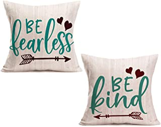 Aremetop Inspirational Quote with Arrow Heart Cotton Linen Throw Pillow Case Home Decorative Cushion Cover Be Tearless Be Kind Wood Lettering Pillowslip Set of 2,18x18 Inches,Teal,Brown