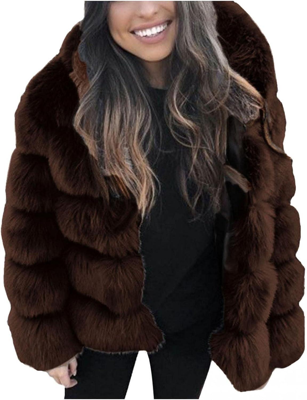 Women Winter Faux Mink Hooded Coat Faux-Fur Warm Thick Jacket Lo
