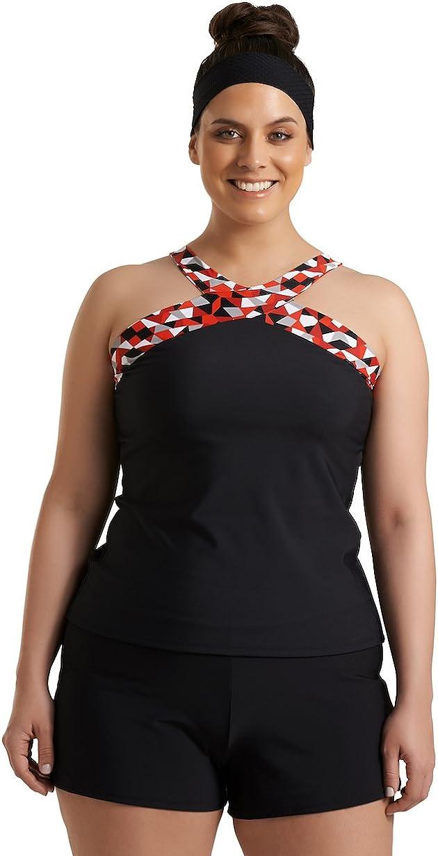 Timothy Snell Women's Plus Size Traycee Criss Cross Underwire Tankini Top - Ladies' Swimwear & Bathing Suit