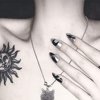 Edary 24 pcs False Nails Black Cross Coffin Nails Full Cover Moon Fake Nails Art for Women