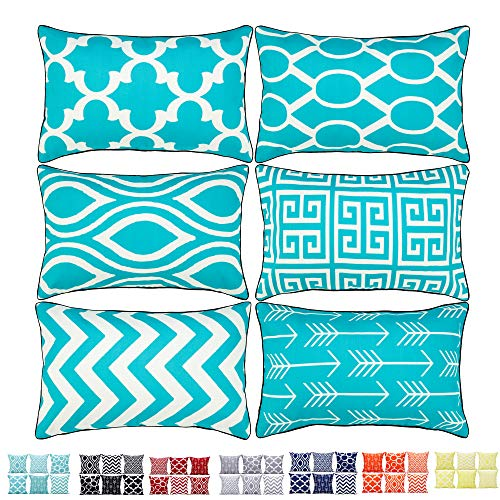 Alimama,Cotton Linen Digital Printed Geometric Pillowcases 12 x 20 Inch with Meaningful Pastoral Colors with Piping for Soft Home Decorate Cushion Covers Sham, Pack with 6 Pcs 30x50cm, Aqua A