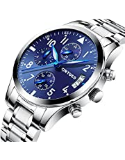 PHCOOVERS オシャレ アナログ 腕時計 メンズ ステンレス ベルト ストップウォッチ 日付表示 ビジネス ウォッチ (シルバー ブルー)