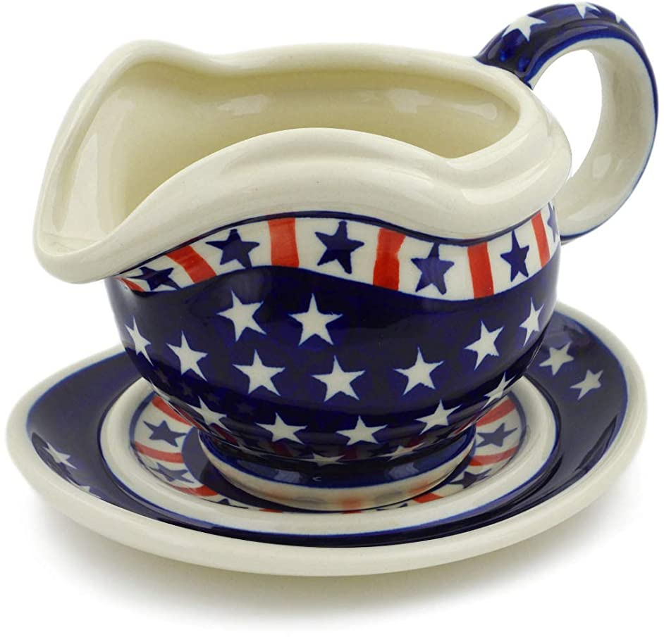 Polish Pottery 21 oz Gravy Boat with Saucer (Americana Theme) + Certificate of Authenticity