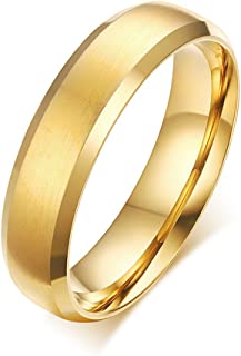 Men 16K Gold Plated 6mm Titanium Steel Wedding Band Ring