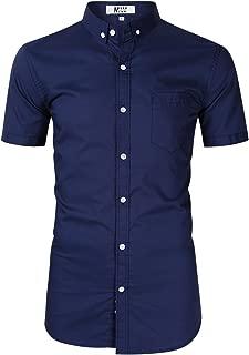 Men's Casual Regular Fit Button Down Dress Shirt Cotton Long Sleeve Solid Oxford Shirt