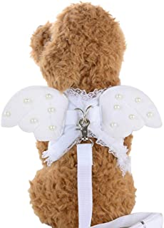 OOEOO Lovely Angel Pet Dog Pearl Wings Chest Strap Dog Chest Back Traction Rope Collars Set