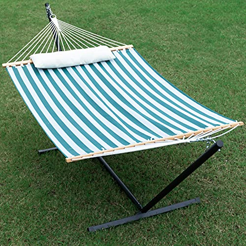 Gafete Quick Dry Two Person Hammock with Stand Included Heavy Duty Textilene Double Hammock Soft Pillow for Patio Outdoor 450lb Capacity Waterproof (Green)