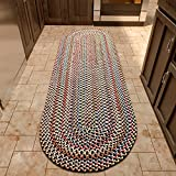 Super Area Rugs American Made Braided Rug for Indoor Outdoor Spaces Charcoal/Natural Multi Colored , 2' X 8' Oval Runner