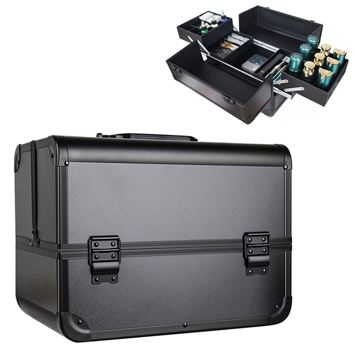 コスメティックケースコスメティックメイクアップアーバンビューティボックス、ネイルジュエリーコスメティックケース、ハードコスメティックケース、コスメティックケース、ビューティボックス-4つの折りたたみトレイ、大きな底部コンパートメント、キャリングハンドル,黒
