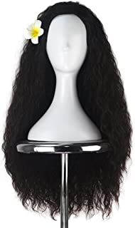 Women 80cm Long Kinky Curly Hair Movie Cosplay Costume Wig Halloween Adult Kids (Dark Brown)
