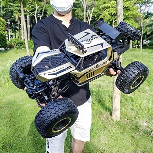 XiYou Coches de Control Remoto Off-Road Toy Racing , Rock Crawlers de Alta Velocidad, Motores Dobles 1: 8 Giant 4WD 2.4GHz Eléctrico Cuatro Ruedas Drive Buggy Truck (Color: Gold)