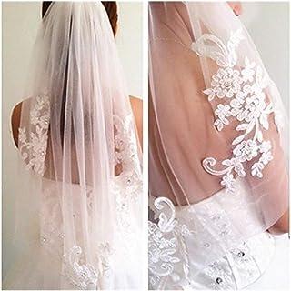 Bridal Wedding Veil 1T Short Flower Edge Bridal Veils With Crystal Comb Handmade Lace Veils For Marriage Party 0604 yynha ...