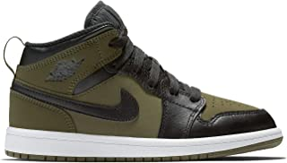 Nike Jordan 1 MID (PS) Boys Fashion-Sneakers 640734-301_3Y - Olive Canvas/Black-White