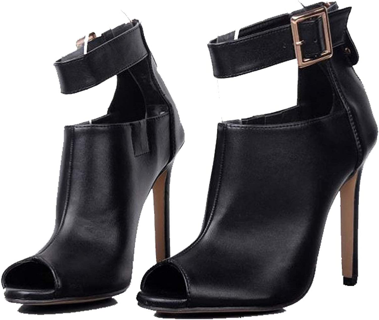 HANBINGPO Women Pumps Ladies Sexy Buckle Strap Roman High Heels Open Toe Sandals Party Wedding shoes Size 41 42 Black,Black,6