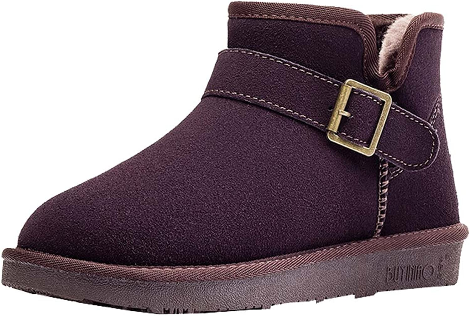 Women's leather snow boots warm casual snow cotton